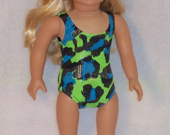 18 Inch Doll Swimsuit Multi Green/Blue Metalliic Print in Stretch Lycra