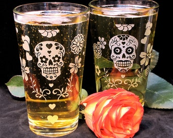One (1) Day of the Dead Pint Glass, your choice of Calavera Sugar Skull, Etched Glass