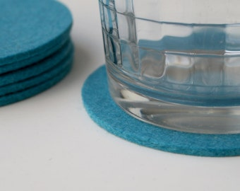 Round Colorful Drink Coasters 3MM Thick Merino Wool Felt Fabric Cup Coaster Set Eco Friendly Housewarming Hostess Gifts Felted Barware