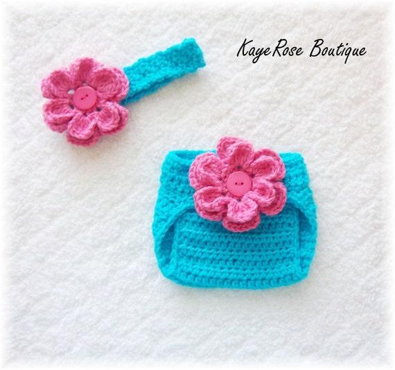 Newborn Baby Crochet Flower Headband & Diaper Cover Set Pink and Blue