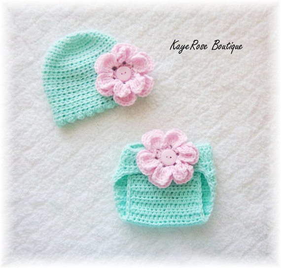 Newborn Baby Girl Crochet Flower Hat & Diaper Cover Set Light Green and Pink