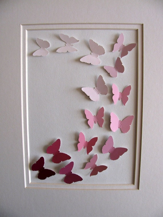 CLEARANCE SALE Rose Pink Recycled Paint Samples - 3D Butterfly Art - 5x7