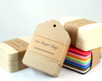 100 Paper Tags - Kraft Color