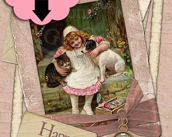 Happy Birthday / Rose Pink Girl and Dog 5x7 Greeting Card Christian Religious - Printable Instant Download Ready To Print Digital JPG Sheet