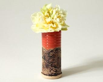 Handmade Mini Vase Scalloped Lace Pattern in Paprika