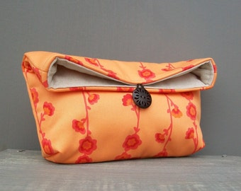 Makeup Bag, Bridesmaid Gift Idea, Orange Vine Clutch Purse, Orange Clutch, Travel Bag, Gift Under 25, Bridesmaid Clutch, Cosmetic Bag
