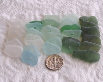 31 Natural Sea Glass Toggles Centre Drilled 1.5mm holes Imperfections Supplies (1586)