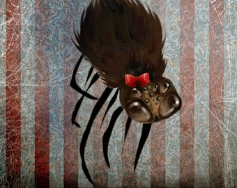 """ACEO ATC Artists Trading Card - 'Ms. Spider on her Own' - Mini Fine Art Giclee Print 2.5x3.5"""" - Cute Spider with Red Bow"""