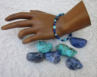 Chakra Balancing Bracelet for the Throat Chakra, with Turquoise and Sodalite