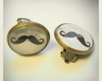 Old School plastic Pin Up- style Mustache clip Earrings