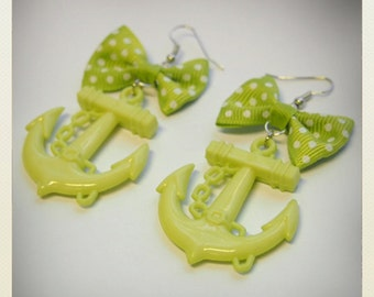 Large lime green Old School plastic Pin Up- style Anchor Earrings with bow
