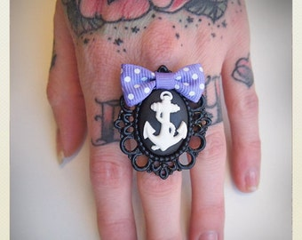 Large Old School Pin Up- Anchor ring with violet bow, black anchor