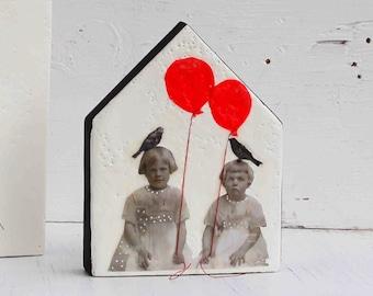 Best Friends Sisters BFF Original Encaustic Mixed Media Painting Blackbird