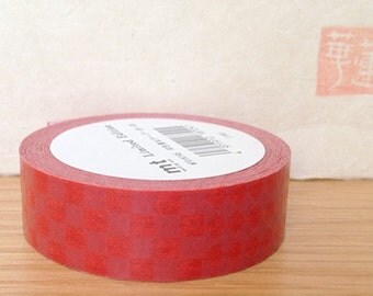 SALE ITEM - limited edition - mt silk screen print - washi masking tape - red lines and diamond pattern