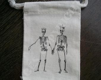 Skeleton Couple Muslin Party Favor Bag