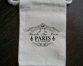 Elegant Paris French Muslin Party Favor Bag or Gift Bag