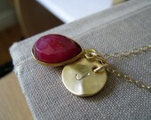 July birthstone initial necklace, personalized jewelry, ruby bezel charm, 14k gold filled chain, birthstone jewelry, July birthday gift idea