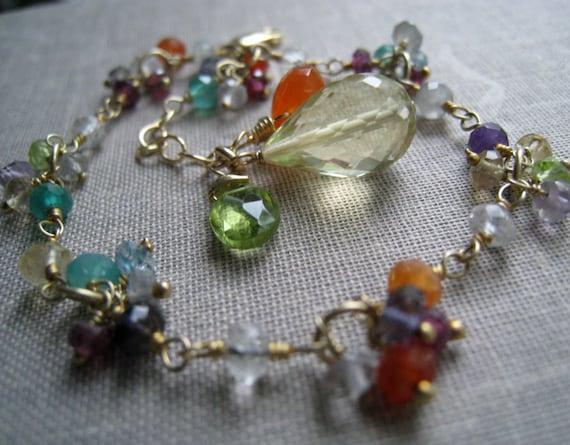 multi color gemstone bracelet, carnelian, lemon topaz, crystal quartz, colorful gemstone bracelet, bridesmaid jewelry