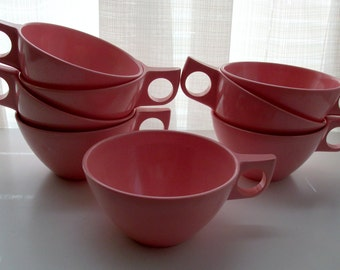 8 Piece Set of Rosy Pink Cups by Melmac