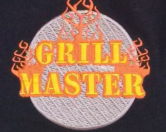Apron, embroidered Grill Master, READY TO SHIP