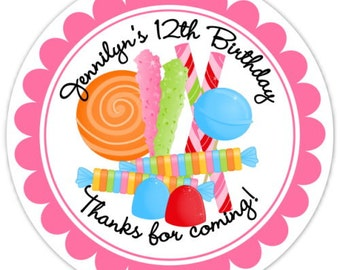 Candy Land Birthday Labels, Candy Land Stickers, Birthday Decoration, Personalized Children Stickers