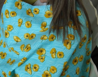 SALE Full Coverage Nursing Cape/Poncho Reversible Aqua with Yellow Flowers, Yellow on Reverse