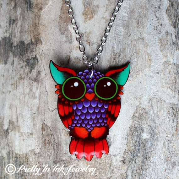 Traditional Style Tattoo Owl Necklace