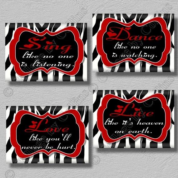 Red Zebra Print Wall Art Girls Bedroom Decor Dance Sing Live