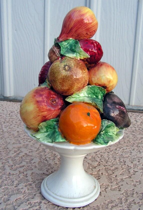 40971 >> Vintage Ceramic Fruit Centerpiece / Pottery Fruit Sculpture
