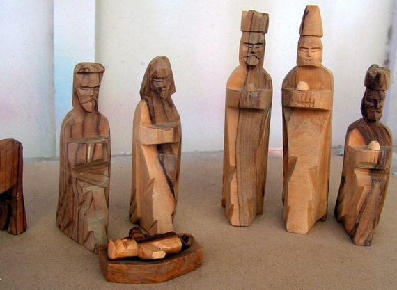 Wooden Hand Carved Nativity Sets ~ Vintage hand carved wood nativity set carving figures