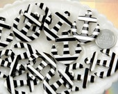 34mm Striped Anchors Resin Charms or Pendants - Black - 6 pc set