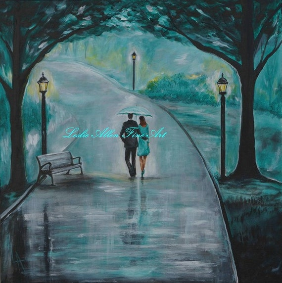 Original Acrylic Painting Couple Romantic Walk