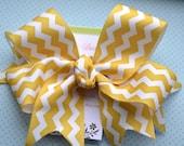 Golden Yellow and White Chevron XL Diva Bow