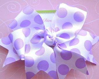 Purple Dots XL Diva Bow