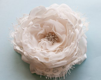 Bridal Flower hair clip or sash pin, ivory, rhinestone button and vintage style lace