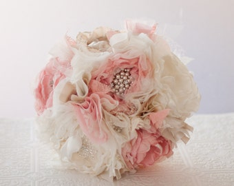 Fabric Flower Brooch Bouquet,  Wedding Bouquet, Silk Flower Bridal Bouquet vintage style rhinestone and pearl brooches, pastel pink, ivory
