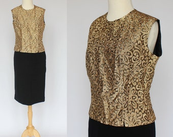 60's Gold Metallic Blouse / Sleeveless Top with Back Buttons / Small