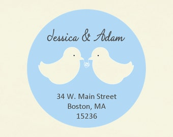 Stickers, address labels, seals, tags, round--tying the knot