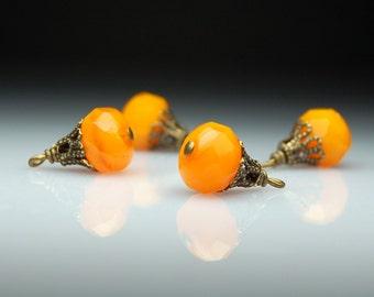 Vintage Style Bead Dangles Orange Czech Glass Set of Four O17
