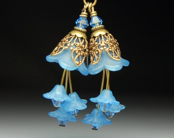 Vintage Style Bead Dangles Blue Lucite Flowers Pair BL3120