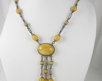 Vintage art deco SIGNED necklace SLAG glass Czech tassled chandelier yellow glass