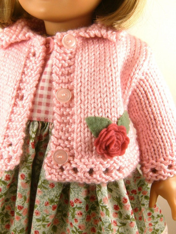 18 Inch Doll Clothes American Girl Pink Hand Knitted Sweater