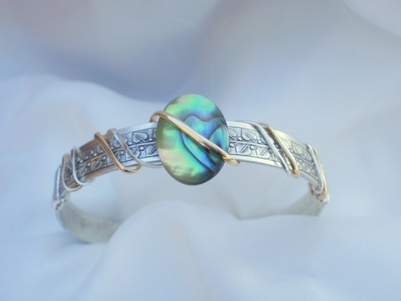 Paua Abalone Shell Bracelet Cuff, sterling silver, wire wrapped, 14K gold wire, summer wear