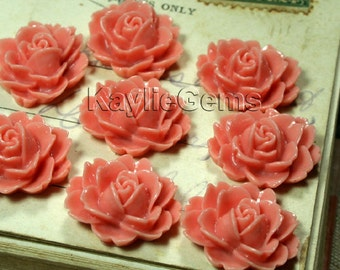 Resin Peony Rose Flower Cabochon Cabs 19mm  - Musty Coral - 6pcs