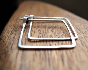sterling silver hoops. square earrings. geometric jewelry. splurge.