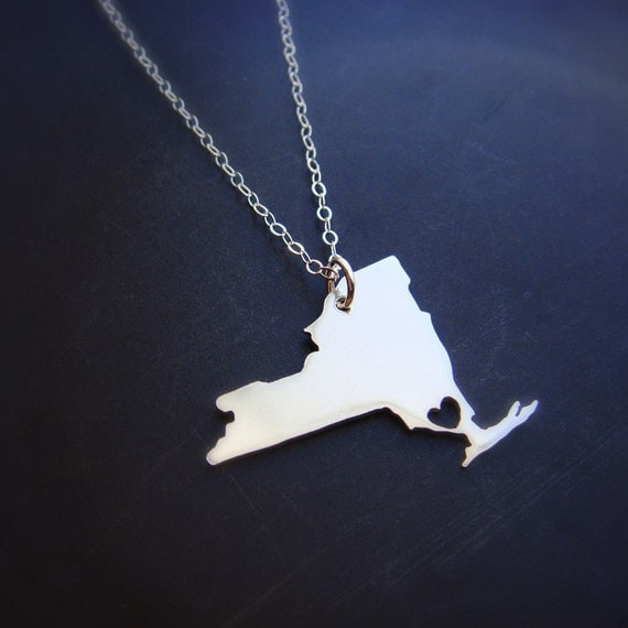 Personalized New York State Pendant Necklaces  Made to Order