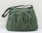 New Year SALE - 40% OFF Hoodie in Army Green / Market Bag / Sling Shoulder Bag / Tote / Purse / Handbag / Hip bag / Large / Women / For her