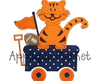 Machine Embroidery Design Applique Tiger Wagon INSTANT DOWNLOAD