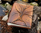 Wedding album  with Tree of Life for 200 photos with custom engraving heart and initials with date