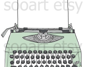 green pastel Typewriter old with paper --Original Illustrate Drawing  Print transfer on Pillows, t-shirts, scrapbook, lampshades  ETC.v